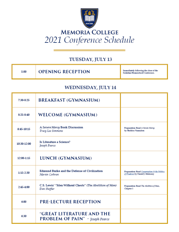 Summer Conference Schedule